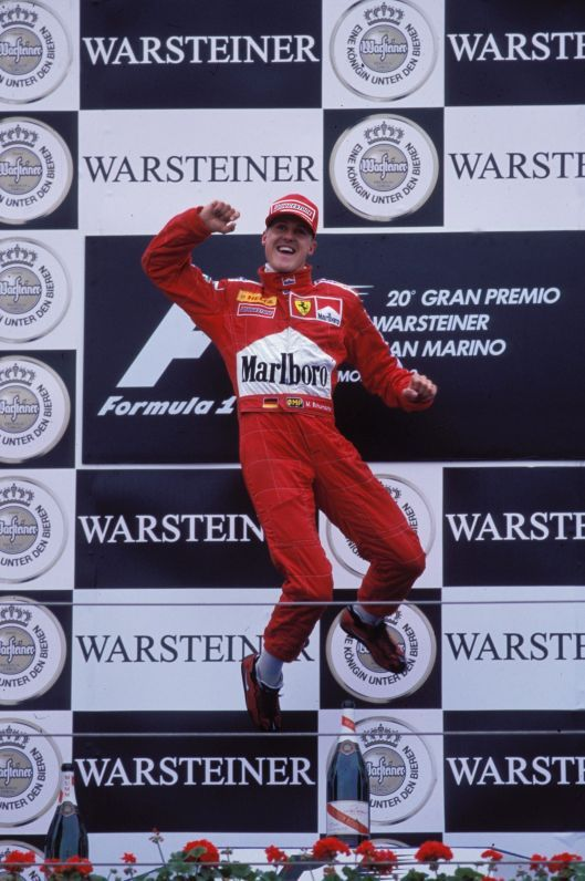 The famous Schumacher jump was delivered nine times in 2000, the year of his first world crown with Ferrari.