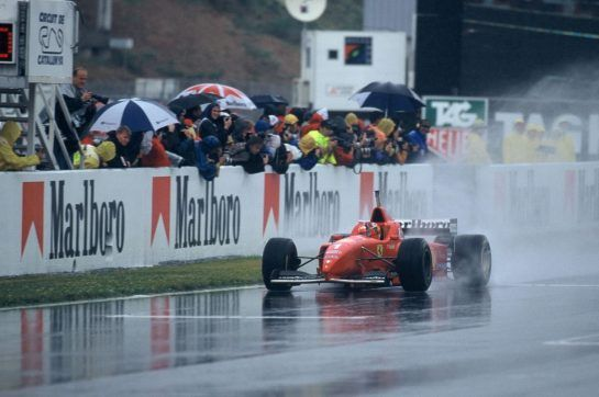Schumacher left Benetton after 1995 and headed to the House of Maranello, winning his first race with Ferrari in torrential rain at Barcelona in June 1996.
