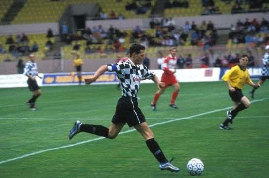 A big football fan Schumacher was fairly handy on the pitch in his role as… a striker, what else? Here he is in 1999, playing with the drivers' squad during a benefit match in Monaco.