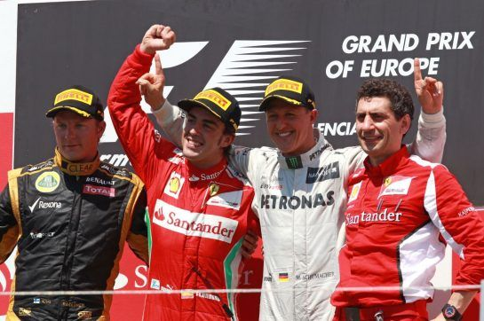 Schumacher's only podium in his second life in F1 came at Valencia in 2012 where he finished third behind Fernando Alonso and Kimi Raikkonen.