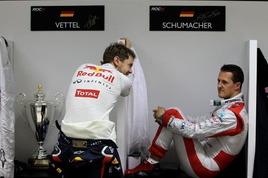 Today, Michael Schumacher's natural heir is his son Mick of course, but the F1 legend saw Sebastian Vettel as his de facto successor once he left F1 at the end of 2012. That year, at the Race of Champions event held in Bangkok, the two men formed Team Germany's invincible pair.