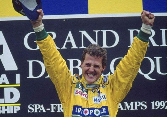 Schumacher's first win came in 1992 at Spa with Benetton, 12 months after his F1 debut.