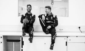 Ricciardo and Hulkenberg, all suited and booted in Renault kit!