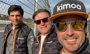 Fernando enjoys a track-side family reunion