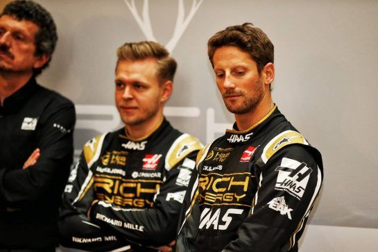 Romain Grosjean (FRA) Haas F1 Team with Kevin Magnussen (DEN) Haas F1 Team.