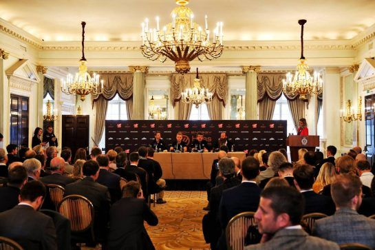 (L to R): Romain Grosjean (FRA) Haas F1 Team; Kevin Magnussen (DEN) Haas F1 Team; Guenther Steiner (ITA) Haas F1 Team Prinicipal; William Storey (GBR) Rich Energy CEO.