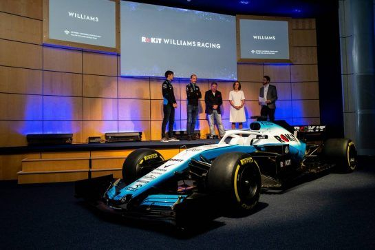 (L to R): George Russell (GBR) Williams Racing; Robert Kubica (POL) Williams Racing; Jonathan Kendrick (GBR) ROK Group Chairman; Claire Williams (GBR) Williams Racing Deputy Team Principal. 11.02.2019. Williams Racing Livery Unveil, Williams Racing Headquarters, Grove, England.  - www.xpbimages.com, EMail: requests@xpbimages.com - copy of publication required for printed pictures. Every used picture is fee-liable. © Copyright: Bearne / XPB Images