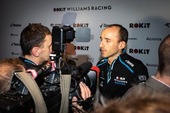 Robert Kubica (POL) Williams Racing with the media. 11.02.2019. Williams Racing Livery Unveil, Williams Racing Headquarters, Grove, England.  - www.xpbimages.com, EMail: requests@xpbimages.com - copy of publication required for printed pictures. Every used picture is fee-liable. © Copyright: Bearne / XPB Images