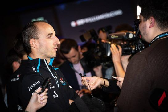 Robert Kubica (POL) Williams Racing with the media.