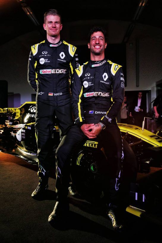 (L to R): Nico Hulkenberg (GER) Renault Sport F1 Team with Daniel Ricciardo (AUS) Renault Sport F1 Team. 12.02.2019. Renault Sport F1 Team RS19 Launch, Enstone England. Tuesday. - www.xpbimages.com, EMail: requests@xpbimages.com - copy of publication required for printed pictures. Every used picture is fee-liable. © Copyright: Batchelor / XPB Images