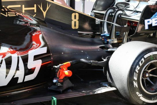 Romain Grosjean (FRA) Haas F1 Team VF-19 engine cover detail. 27.02.2019. Formula One Testing, Day Two, Barcelona, Spain. Wednesday. - www.xpbimages.com, EMail: requests@xpbimages.com - copy of publication required for printed pictures. Every used picture is fee-liable. © Copyright: Batchelor / XPB Images