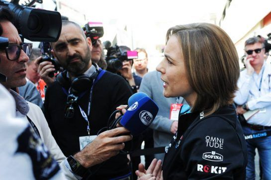 Claire Williams (GBR) Williams Racing Deputy Team Principal with the media. 27.02.2019. Formula One Testing, Day Two, Barcelona, Spain. Wednesday.  - www.xpbimages.com, EMail: requests@xpbimages.com - copy of publication required for printed pictures. Every used picture is fee-liable. © Copyright: Bearne / XPB Images