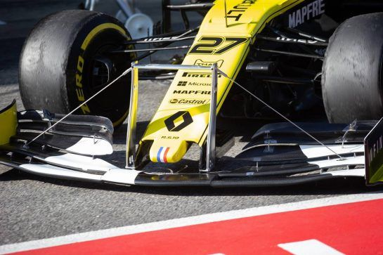 Nico Hulkenberg (GER) Renault Sport F1 Team RS19 - front wing detail. 27.02.2019. Formula One Testing, Day Two, Barcelona, Spain. Wednesday.  - www.xpbimages.com, EMail: requests@xpbimages.com - copy of publication required for printed pictures. Every used picture is fee-liable. © Copyright: Bearne / XPB Images
