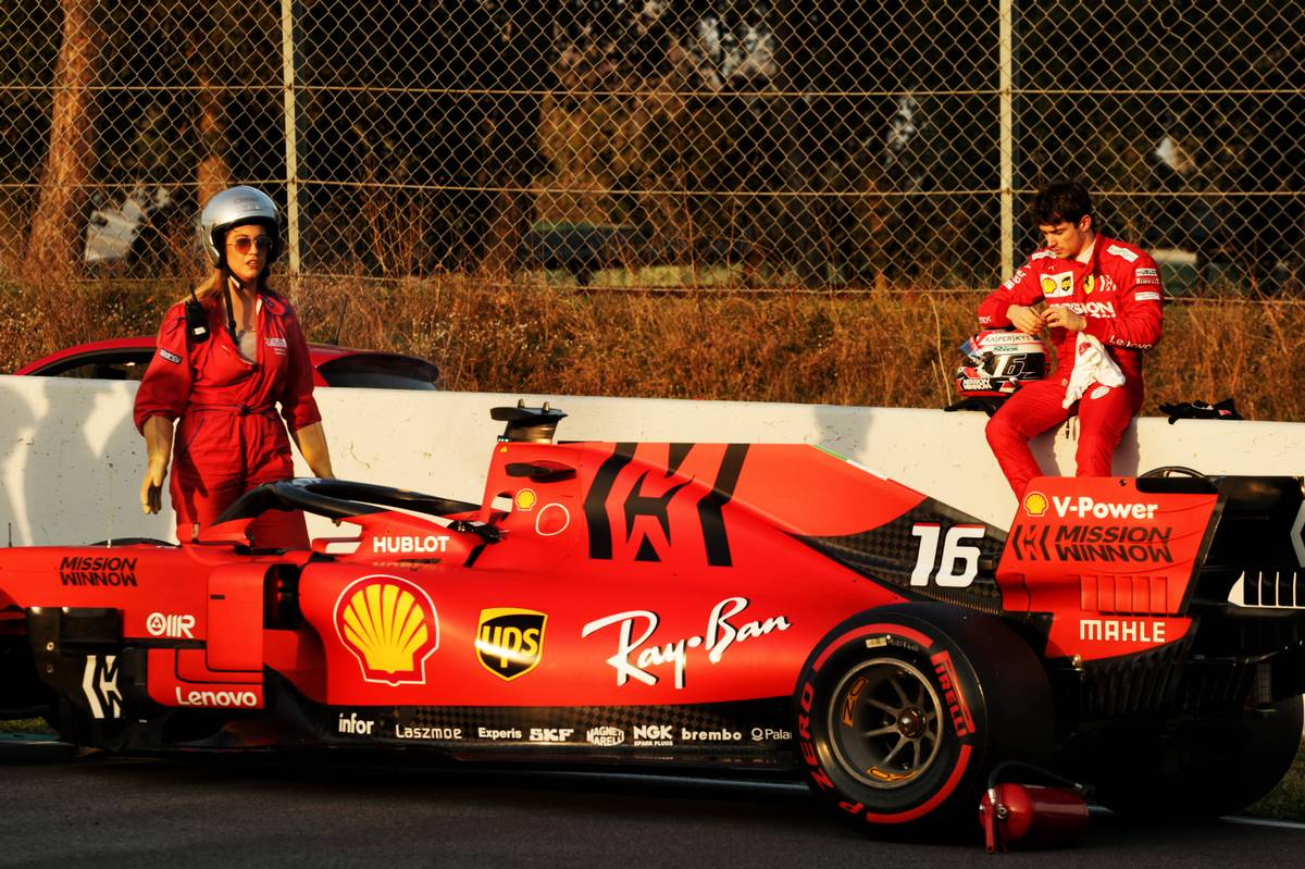 Charles Leclerc (MON) Ferrari SF90 stops on the circuit. 28.02.2019. Formula One Testing, Day Three, Barcelona, Spain. Thursday. - www.xpbimages.com, EMail: requests@xpbimages.com - copy of publication required for printed pictures. Every used picture is fee-liable. © Copyright: Bearne / XPB Images
