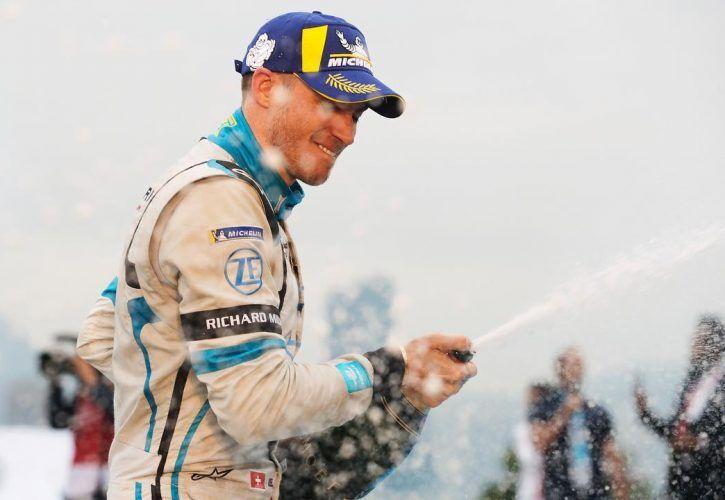 Edoardo Mortara celebrates after the 2019 Hong King ePrix.