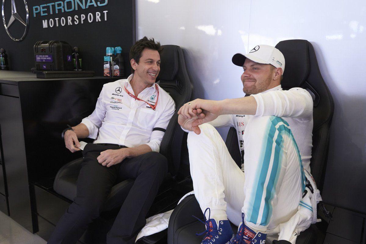 Mercedes F1 Toto Wollf and Valtteri Bottas at the 2019 Australian Grand Prix