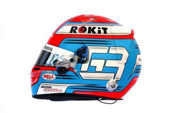 The helmet of George Russell (GBR) Williams Racing. 14.03.2019. Formula 1 World Championship, Rd 1, Australian Grand Prix, Albert Park, Melbourne, Australia, Preparation Day. - www.xpbimages.com, EMail: requests@xpbimages.com - copy of publication required for printed pictures. Every used picture is fee-liable. © Copyright: Batchelor / XPB Images