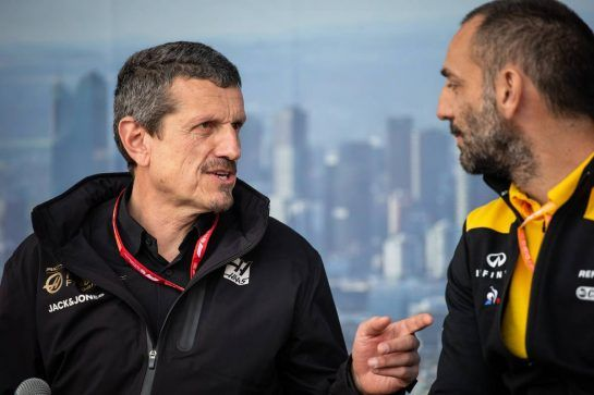 (L to R): Guenther Steiner (ITA) Haas F1 Team Prinicipal and Cyril Abiteboul (FRA) Renault Sport F1 Managing Director at the Fans' Forum. 15.03.2019. Formula 1 World Championship, Rd 1, Australian Grand Prix, Albert Park, Melbourne, Australia, Practice Day.  - www.xpbimages.com, EMail: requests@xpbimages.com - copy of publication required for printed pictures. Every used picture is fee-liable. © Copyright: Bearne / XPB Images