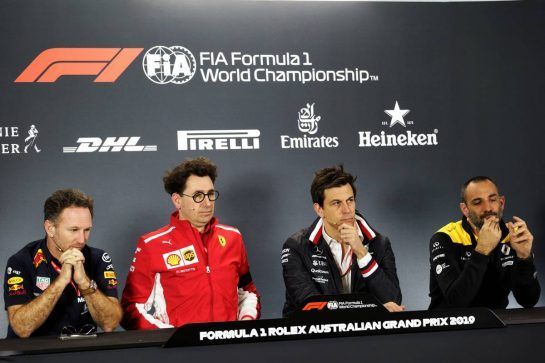 The FIA Press Conference (L to R): Chris Goodwin (GBR) Manager of Bruno Senna (BRA) Williams; Mattia Binotto (ITA) Ferrari Team Principal; Toto Wolff (GER) Mercedes AMG F1 Shareholder and Executive Director; Cyril Abiteboul (FRA) Renault Sport F1 Managing Director.