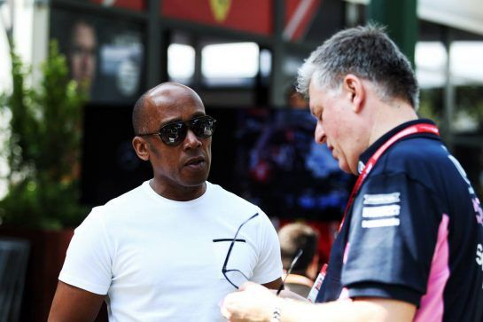 (L to R): Anthony Hamilton (GBR) with Otmar Szafnauer (USA) Racing Point F1 Team Principal and CEO.