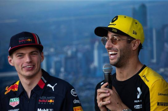 (L to R): Max Verstappen (NLD) Red Bull Racing and Daniel Ricciardo (AUS) Renault F1 Team on the Fan Zone Stage.