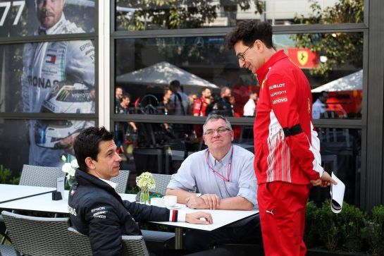 (L to R): Toto Wolff (GER) Mercedes AMG F1 Shareholder and Executive Director with Joe Saward (GBR) Journalist and Mattia Binotto (ITA) Ferrari Team Principal.