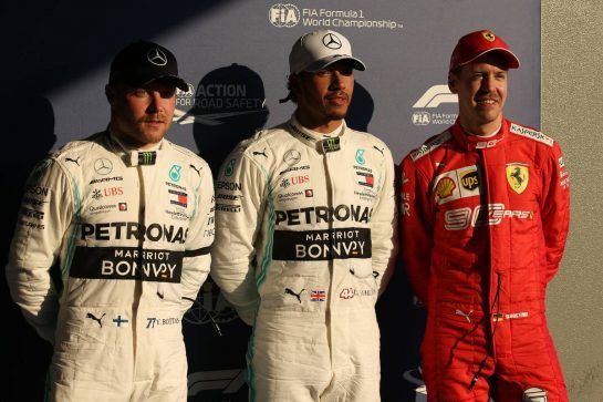 Pole for Lewis Hamilton (GBR) Mercedes AMG F1 W10, 2nd for Valtteri Bottas (FIN) Mercedes AMG F1 W10 and 3rd for Sebastian Vettel (GER) Ferrari SF90.