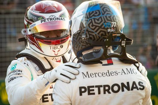 (L to R): Lewis Hamilton (GBR) Mercedes AMG F1 celebrates his pole position in qualifying parc ferme with team mate Valtteri Bottas (FIN) Mercedes AMG F1.