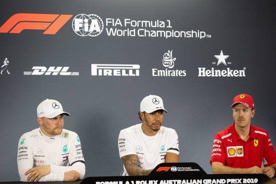 The post qualifying FIA Press Conference (L to R): Valtteri Bottas (FIN) Mercedes AMG F1, second; Lewis Hamilton (GBR) Mercedes AMG F1, pole position; Sebastian Vettel (GER) Ferrari, third.