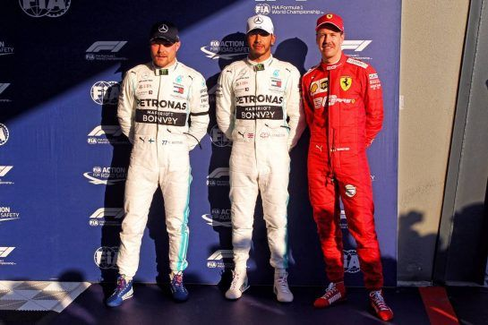 Qualifying top three in parc ferme (L to R): Valtteri Bottas (FIN) Mercedes AMG F1, second; Lewis Hamilton (GBR) Mercedes AMG F1, pole position; Sebastian Vettel (GER) Ferrari, third.