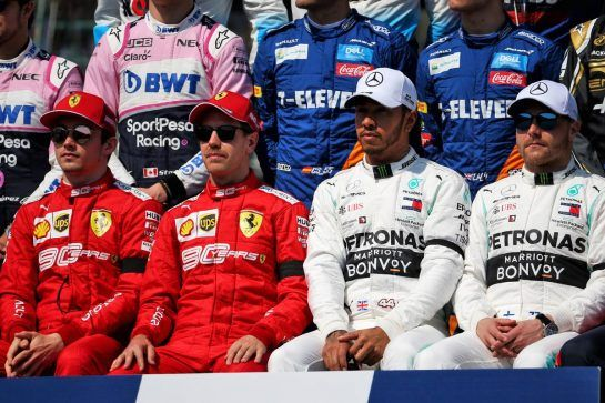 (L to R): Charles Leclerc (MON) Ferrari; Sebastian Vettel (GER) Ferrari; Lewis Hamilton (GBR) Mercedes AMG F1; and Valtteri Bottas (FIN) Mercedes AMG F1, at the start of season group photograph.