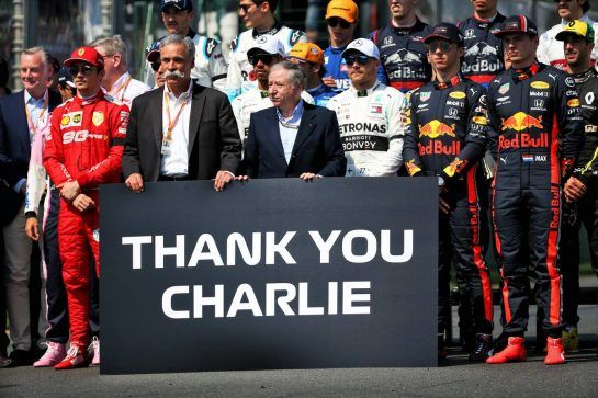 Chase Carey (USA) Formula One Group Chairman; Jean Todt (FRA) FIA President; and drivers pay tribute to Charlie Whiting.