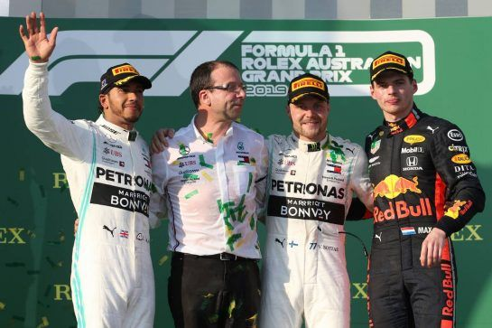 1st place Valtteri Bottas (FIN) Mercedes AMG F1 W10, 2nd place Lewis Hamilton (GBR) Mercedes AMG F1 W10 and 3rd place Max Verstappen (NLD) Red Bull Racing RB15. 17.03.2019. Formula 1 World Championship, Rd 1, Australian Grand Prix, Albert Park, Melbourne, Australia, Race Day. - www.xpbimages.com, EMail: requests@xpbimages.com - copy of publication required for printed pictures. Every used picture is fee-liable. © Copyright: Batchelor / XPB Images