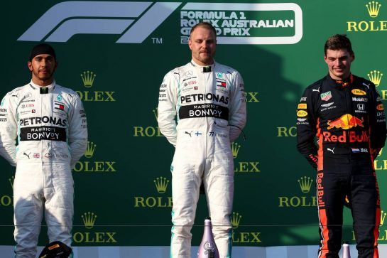 1st place Valtteri Bottas (FIN) Mercedes AMG F1 W10, 2nd place Lewis Hamilton (GBR) Mercedes AMG F1 W10 and 3rd place Max Verstappen (NLD) Red Bull Racing RB15.