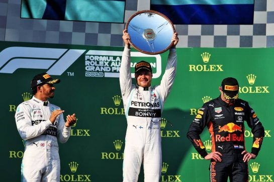 The podium (L to R): Lewis Hamilton (GBR) Mercedes AMG F1, second; Valtteri Bottas (FIN) Mercedes AMG F1, race winner; Max Verstappen (NLD) Red Bull Racing, third. 17.03.2019. Formula 1 World Championship, Rd 1, Australian Grand Prix, Albert Park, Melbourne, Australia, Race Day. - www.xpbimages.com, EMail: requests@xpbimages.com - copy of publication required for printed pictures. Every used picture is fee-liable. © Copyright: Moy / XPB Images