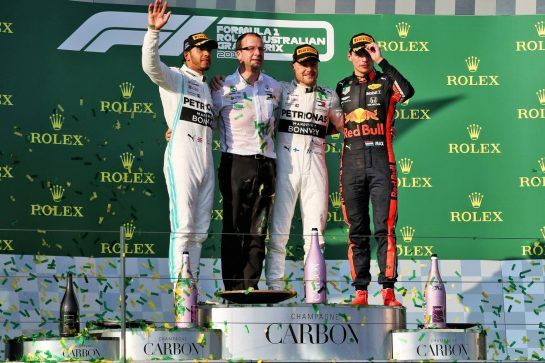 The podium (L to R): Lewis Hamilton (GBR) Mercedes AMG F1, second; Valtteri Bottas (FIN) Mercedes AMG F1, race winner; Max Verstappen (NLD) Red Bull Racing, third.