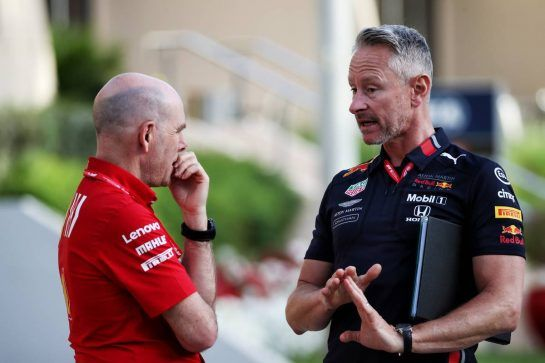 (L to R): Jock Clear (GBR) Ferrari Engineering Director with Jonathan Wheatley (GBR) Red Bull Racing Team Manager. 28.03.2019. Formula 1 World Championship, Rd 2, Bahrain Grand Prix, Sakhir, Bahrain, Preparation Day. - www.xpbimages.com, EMail: requests@xpbimages.com - copy of publication required for printed pictures. Every used picture is fee-liable. © Copyright: Batchelor / XPB Images