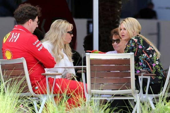 Corinna Schumacher (GER) and Mattia Binotto (ITA) Ferrari Team Principal 29.03.2019. Formula 1 World Championship, Rd 2, Bahrain Grand Prix, Sakhir, Bahrain, Practice Day- www.xpbimages.com, EMail: requests@xpbimages.com - copy of publication required for printed pictures. Every used picture is fee-liable. © Copyright: Charniaux / XPB Images