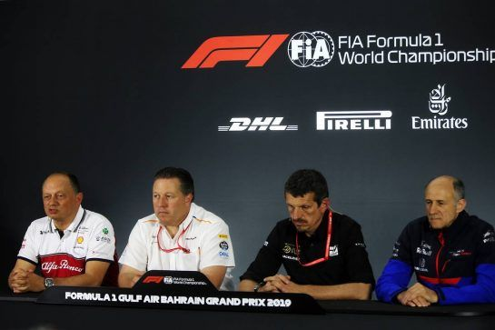 The FIA Press Conference (L to R): Frederic Vasseur (FRA) Alfa Romeo Racing Team Principal; Zak Brown (USA) McLaren Executive Director; Guenther Steiner (ITA) Haas F1 Team Prinicipal; Franz Tost (AUT) Scuderia Toro Rosso Team Principal. 29.03.2019. Formula 1 World Championship, Rd 2, Bahrain Grand Prix, Sakhir, Bahrain, Practice Day - www.xpbimages.com, EMail: requests@xpbimages.com - copy of publication required for printed pictures. Every used picture is fee-liable. © Copyright: Batchelor / XPB Images