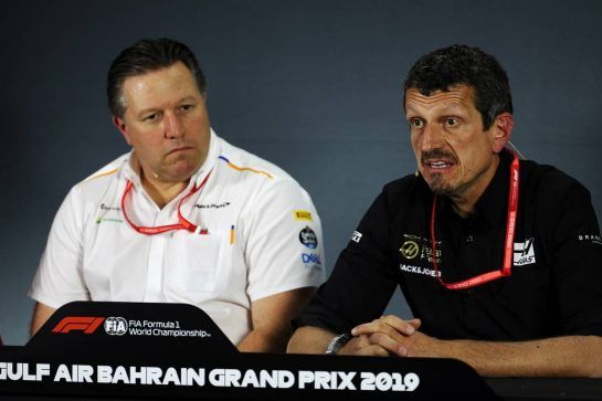 (L to R): Zak Brown (USA) McLaren Executive Director and Guenther Steiner (ITA) Haas F1 Team Prinicipal in the FIA Press Conference. 29.03.2019. Formula 1 World Championship, Rd 2, Bahrain Grand Prix, Sakhir, Bahrain, Practice Day - www.xpbimages.com, EMail: requests@xpbimages.com - copy of publication required for printed pictures. Every used picture is fee-liable. © Copyright: Batchelor / XPB Images