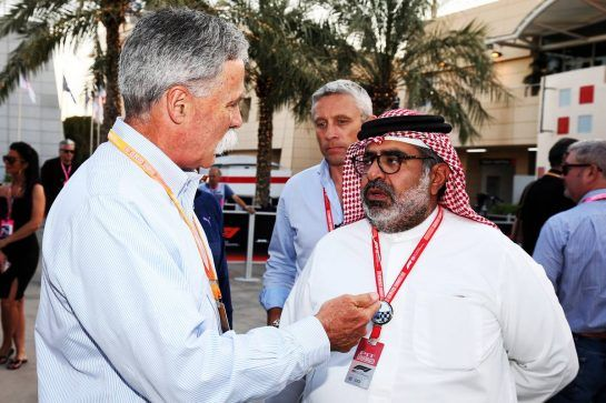 (L to R): Chase Carey (USA) Formula One Group Chairman with Muhammed Al Khalifa (BRN) Bahrain Circuit Chairman. 29.03.2019. Formula 1 World Championship, Rd 2, Bahrain Grand Prix, Sakhir, Bahrain, Practice Day - www.xpbimages.com, EMail: requests@xpbimages.com - copy of publication required for printed pictures. Every used picture is fee-liable. © Copyright: Moy / XPB Images