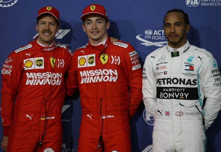 Pole for Charles Leclerc (MON) Ferrari SF90, 2nd for Sebastian Vettel (GER) Ferrari and 3rd for Lewis Hamilton (GBR) Mercedes AMG F1.