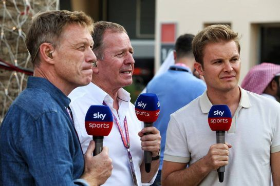 (L to R): Simon Lazenby (GBR) Sky Sports F1 TV Presenter with Martin Brundle (GBR) Sky Sports Commentator and Nico Rosberg (GER).