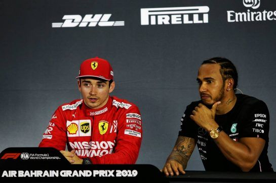 (L to R): Charles Leclerc (MON) Ferrari with Lewis Hamilton (GBR) Mercedes AMG F1 in the post qualifying FIA Press Conference.