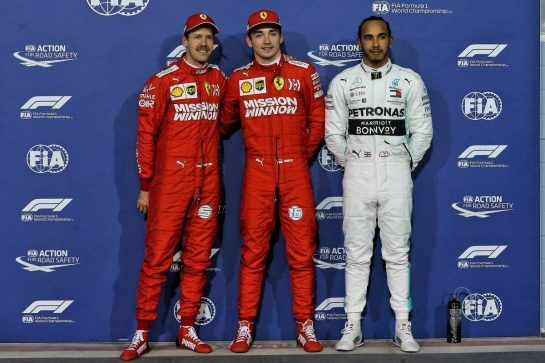Qualifying top three in parc ferme (L to R): Sebastian Vettel (GER) Ferrari, second; Charles Leclerc (MON) Ferrari, pole position; Lewis Hamilton (GBR) Mercedes AMG F1, third.
