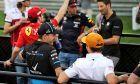 Robert Kubica (POL) Williams Racing and Lando Norris (GBR) McLaren on the drivers parade.