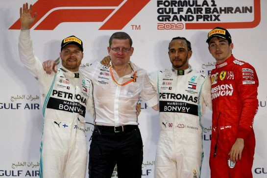 1st place Lewis Hamilton (GBR) Mercedes AMG F1, 2nd place Valtteri Bottas (FIN) Mercedes AMG F1 and 3rd place Charles Leclerc (MON) Ferrari.