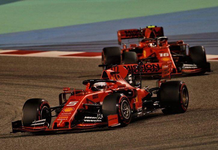 Sebastian Vettel (GER) Ferrari SF90 leads team mate Charles Leclerc (MON) Ferrari SF90. 31.03.2019