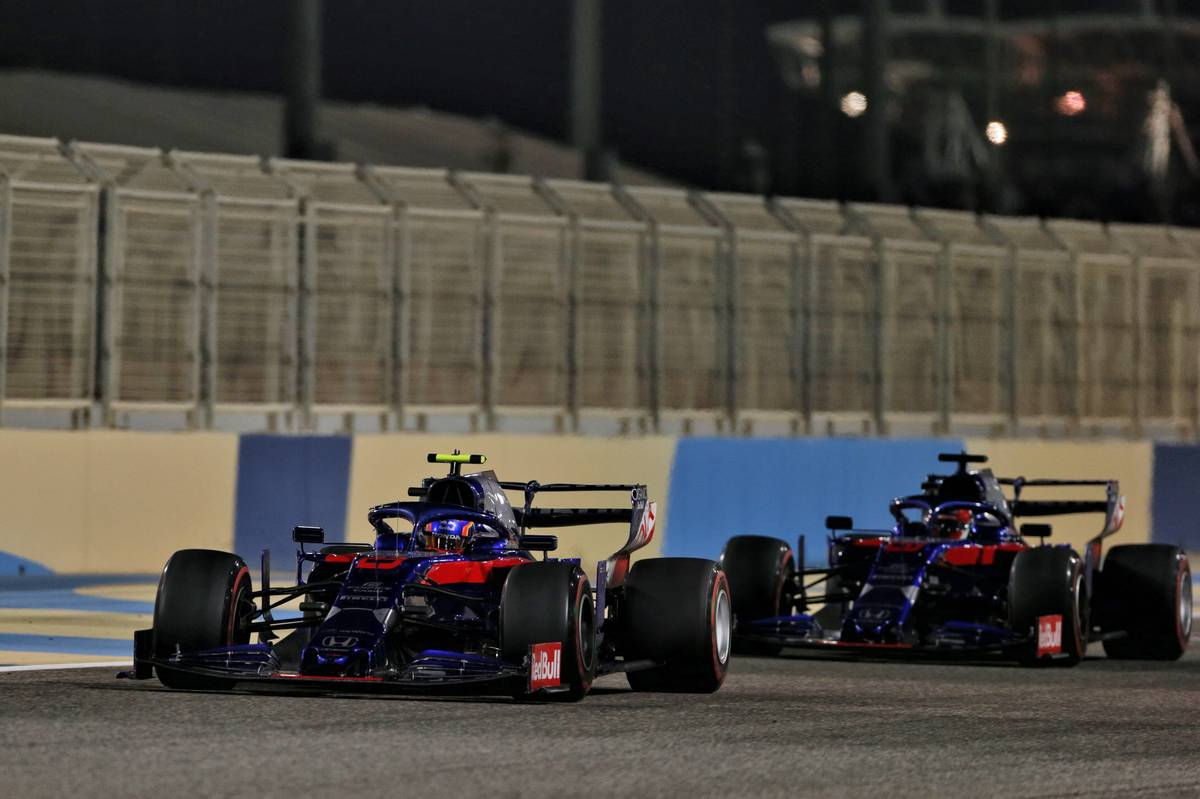 Alexander Albon (THA) Scuderia Toro Rosso STR14 leads team mate Daniil Kvyat (RUS) Scuderia Toro Rosso STR14.