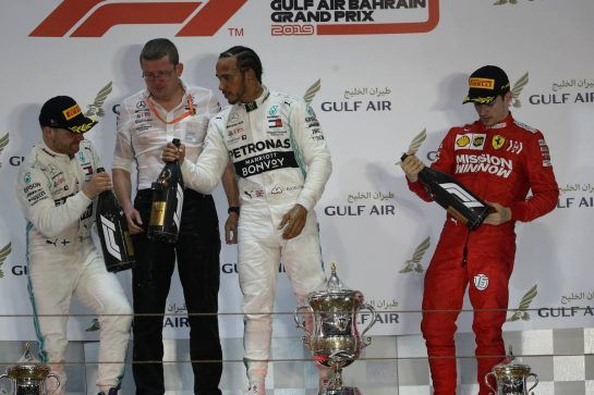 1st plalce Lewis Hamilton (GBR) Mercedes AMG F1, 2nd place Valtteri Bottas (FIN) Mercedes AMG F1 and 3rd palce Charles Leclerc (MON) Ferrari.